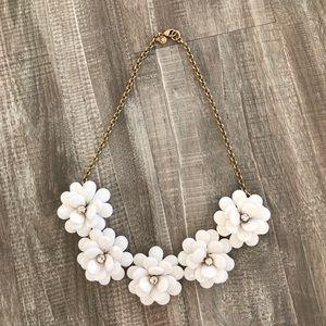 J. Crew Statement Necklace - Gold w/White Flowers